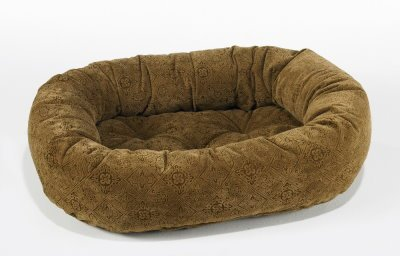 Diamond Microvelvet Donut Pet Bed Pecan Filigree (X Large  50 x 36 x 9 in.)