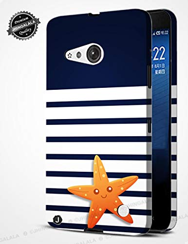 Jhingalala ® Blue Pattern with Star Fish Design Printed Mobile Back Case Cover for Nokia Lumia 730