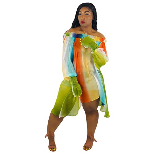 - Halfword Women's Off Shoulder Long Sleeve Summer Sundress Ruffle Floral Printed Tie-Dye Boho Dress Orange