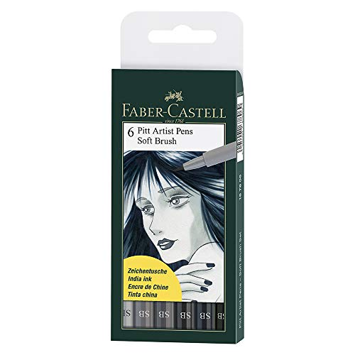 Faber Castel Art and Graphic, Pitt Artists Pens, Set of 6 Soft Brush Tip (SB), Shades of Grey (FC167806)