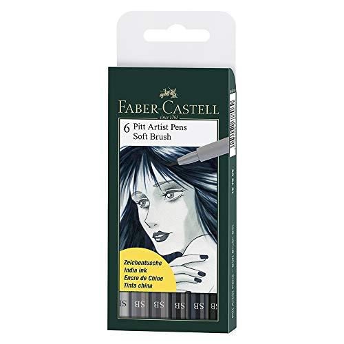Faber Castel Art and Graphic, Pitt Artists Pens, Set of 6 Soft Brush Tip (SB), Shades of Grey - Faber Castell Pitt Brush