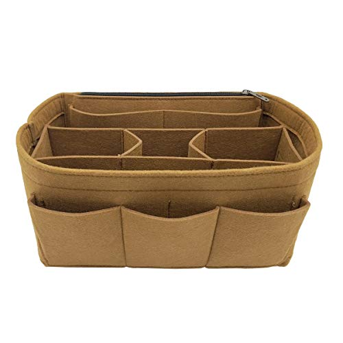 LEXSION Felt Handbag Organizer,Insert purse organizer Fits Speedy Neverfull 8001 Light Brown L ()