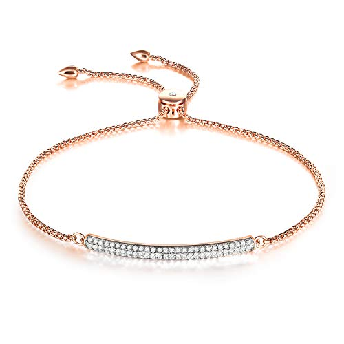 Adjustable Charm Bracelets for Women White Gold Plated Jewelry Bracelets for Teen Girls with Gift Box (rose gold) from THEHORAE