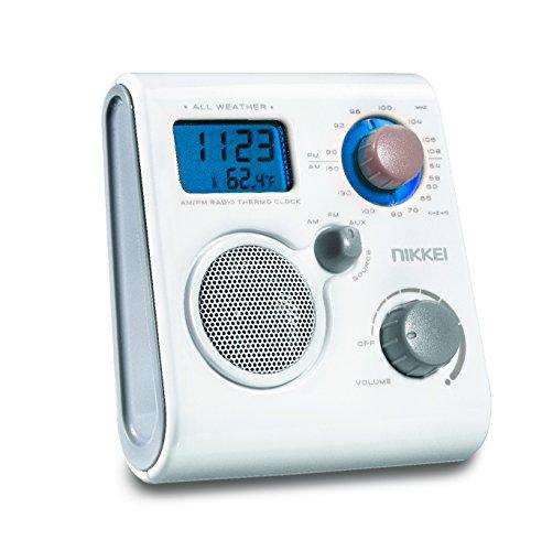Nikkei NWP10WE wasserdichtes Duschradio UKW/MW mit Uhrzeit, Wecker und Temperaturanzeige weiß