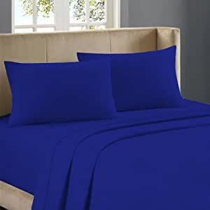 500 TC 100% Egyptian Cotton Flat Sheet With 2 White Pillowcases Solid ( Cal-King,Egyptian Blue)