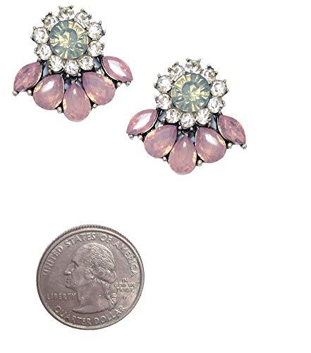 Art Deco Antique Vintage Style Pink Opal Rhinestone Bridal Bridesmaid Wedding Prom Cluster - Pink Antique Crystal