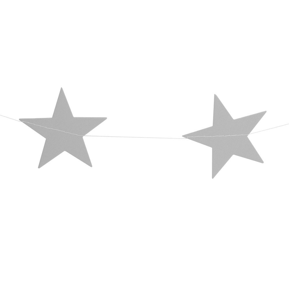 4 Colors Hanging Star Garland Banner Bunting Paper Pentagram Ornament Wedding Party Christmas Home Decor (Silver)
