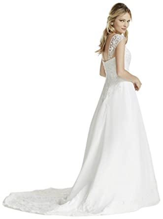 5121841f21e38 A line Chiffon Split Front Overlay Wedding Dress Style V9010 at Amazon  Women's Clothing store: