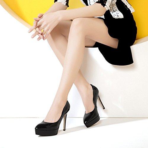 Frauen Geschlossene Zehe Sexy High Heels Plattform Hochzeit Schuhe Damen Stiletto Schuhe Hochhackigen Pumps Hof Schuhe (3 Farben) Black