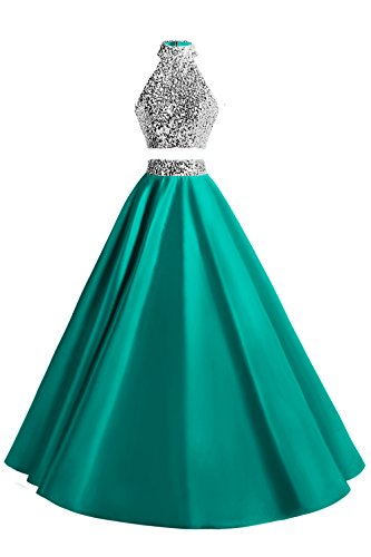 (MsJune Women Two Piece Prom Dress Beaded Long Party Gowns Evening Dresses Turquoise 10)