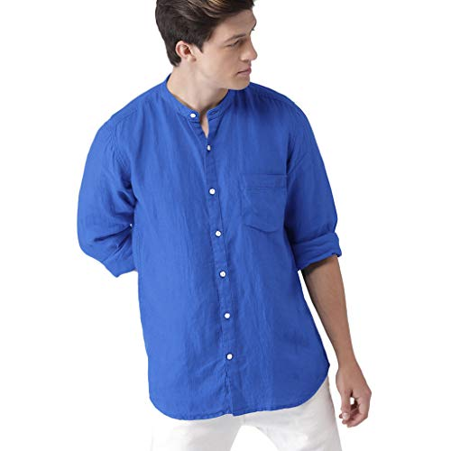 FONMA Men Sunmer Fashion Solid Casual Comfortable Smart Shirts Top Blouse Cotton Tops Blue]()