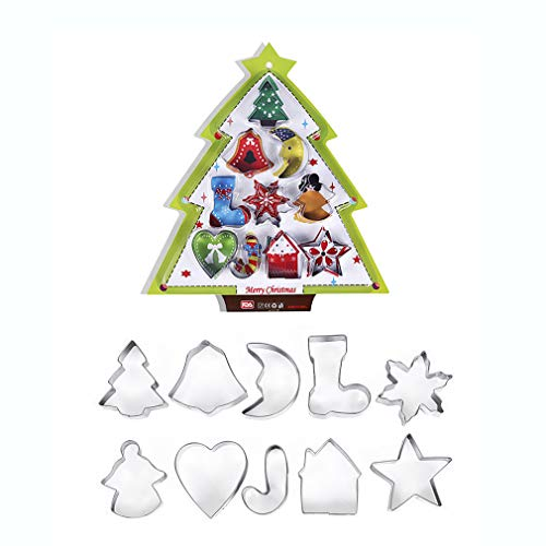 Christmas Cookie Cutter Set,14 Stainless Steel Cookies Molds - Unique 3D Shaped Christmas DIY Baking Molds Xmas Gift Christmas Tree, Snowman, Santa Face and More Cookie Cutters molds ()