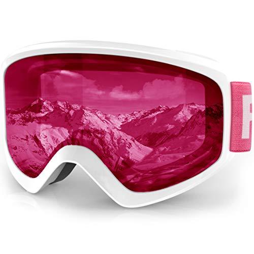 - findway Kids Ski Goggles, Kids Snow Snowboard Goggles - Helmet Compatible Over Glasses OTG Design Non-Slip Strap UV Protection Child Children Youth Boys Girls Snowboarding