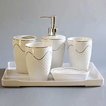 Amazon Com Vintage Ceramic Bathroom Accessories Sets Bathroom Vanity Decor Creative Gold Lines White Embossed Dots 6 Piece Contain Soap Dispenser Vanity Tray 2 Pcs Tumbler Toothbrush Holder Soap Dish For Home Furniture Decor