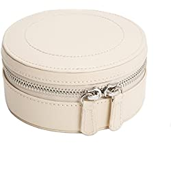 WOLF 392353 Sophia Mini Zip Case Jewelry Box, Ivory