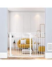 Xifamniy Extra Wide Pressure Mounted Baby Gate Safety Walk Thru Auto Close White Black Metal Child Dog Pet Stairs,Doorways,Kitchen and Living Room 24.02-81.50inch