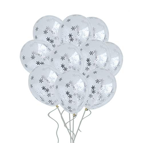 50pcs Silver Snow Ice Confetti Balloon Party Decoration Birthday wedding Decoration Happy Birthday Balloons Happy New Year Snowflake Ballon