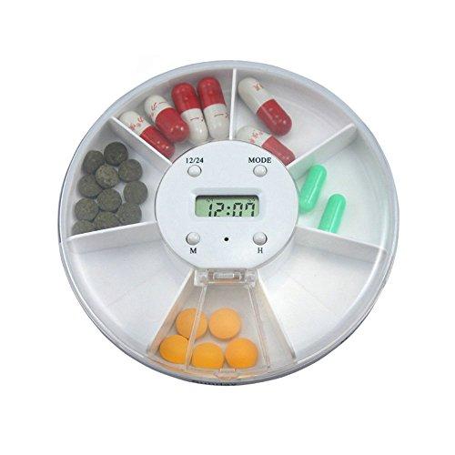 Discoo Portable 7 compartments Alarm Clock Pill Dispenser Alarm Clock Pill Dispenser Pill Box Electronic Medication Reminder