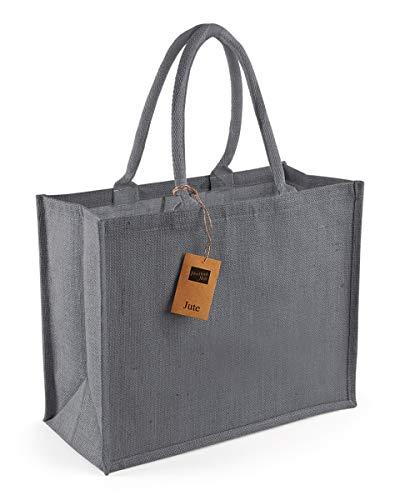 Westford Mill Classic Jute Shopper Bag (21 Liters) (One Size) (Graphite Grey/Graphite Grey)