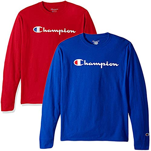 - Champion Men's Classic Jersey Script T Shirt -3 Piece Bundle Includes 2 Shirts Free BE Bold Gym Tote Bag Genie Outlet (X-Large)