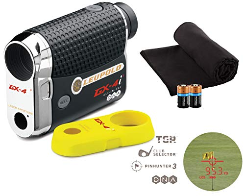 - Leupold GX-4i3 Golf Rangefinder Bundle I Includes Golf Rangefinder (Slope & Non-Slope Function) with Carrying Case, PlayBetter Microfiber Towel & Two (2) CR2 Batteries | True Golf Range (TGR) | Bundle