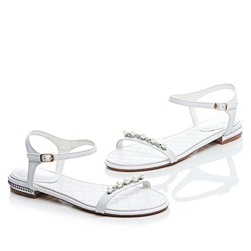 Material Open Heels Soft Sandals Toe 1TO9 White Ladies Low 1qnYn