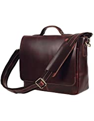Texbo Genuine Leather Men's Briefcase Messenger Shoulder Bag Fit 14 Inch Laptop