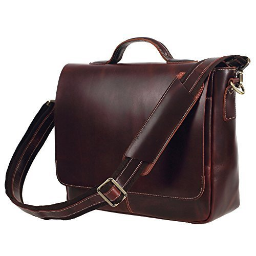 Texbo Genuine Leather Men's Briefcase Messenger Shoulder Bag Fit 14 Inch Laptop by Texbo