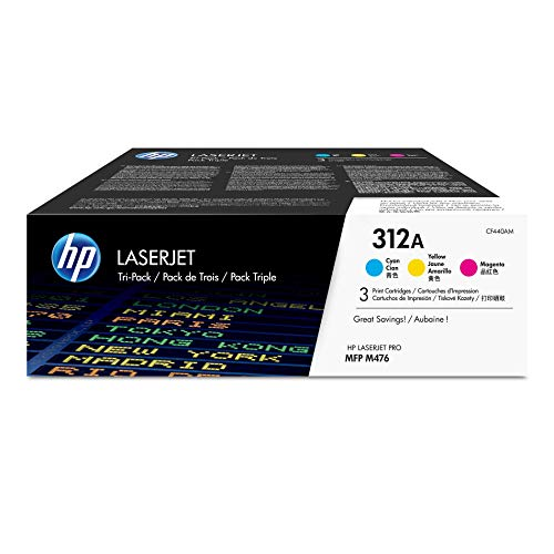 HP 312A (CF440AM) Cyan, Magenta & Yellow Toner Cartridges, 3 Cartridges (CF381A, CF382A, CF383A) for HP Color LaserJet Pro M476