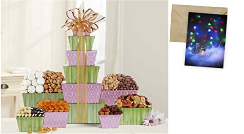 Tower Of Sweets Gift Basket for Christmas and personalized card mailed seperately, CD3237899