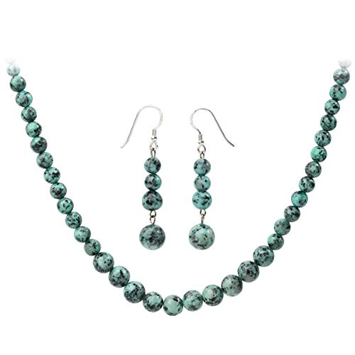 YACQ 925 Sterling Silver Turquoise Gemstone Necklace Earrings Sets Handcrafted Jewelry for Women (20, Turquoise)