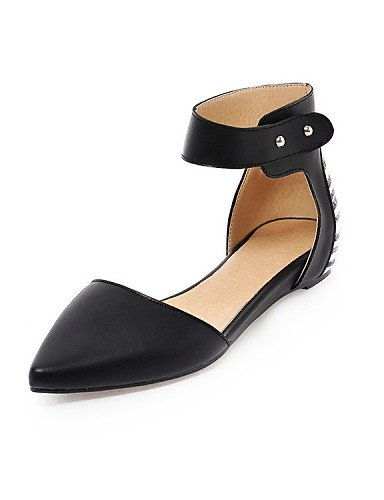 vestido de y zapatos boda uk3 piel 5 us5 carrera black oficina de sintética plano negro eu36 Fiesta Flats y cn35 talón tarde punta mujer Toe PDX 5 OU5qdO