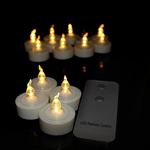 Youngerbaby 12pcsリモートコントロール暖かいホワイトFlameless LEDティーライトちらつきキャンドルリアルな電池式キャンドルTealights、ウェディングパーティークリスマスガーデン夜ライトテーブルCenterpiece ホワイト tealight candles B01MYNI1MA 10313  ウォームホワイト