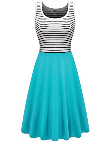 Herou Women's Sleeveless Casual Cotton Tank Striped Dress Mint Medium