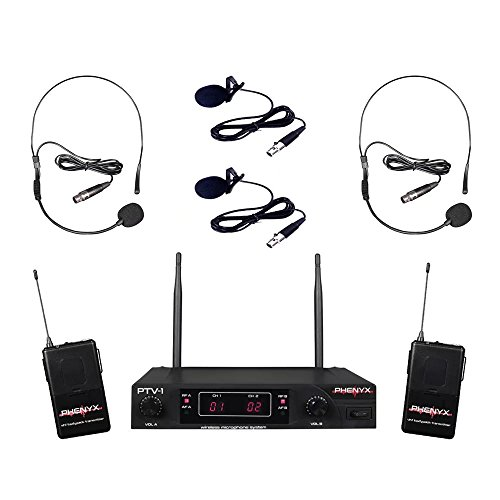 Single Channel Vhf Wireless Headset (Phenyx Pro VHF Wireless Microphone System, 2 Headset Mic + 2 Lapel Mic + 2 Bodypack, Stable Signal, Fixed Frequency, Interference-free,Best for Presentation, Interview, Church, Events (PTV-1))