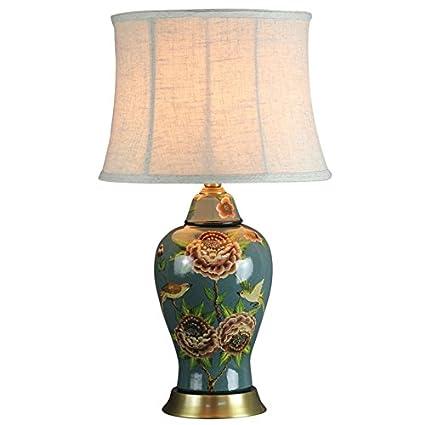 GYP Lámpara de mesa de cerámica, flores y pájaros pintados ...