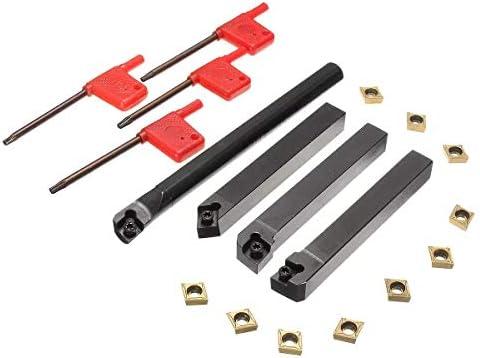 Werkzeug Fräser Holzbearbeitung Werkzeug Drehen Halter mit 10 Stück CCMT09T304 Einsätze 4pcs 12mm SCLCR/L SCMCN Lathe Bohrstange Drehwerkzeug