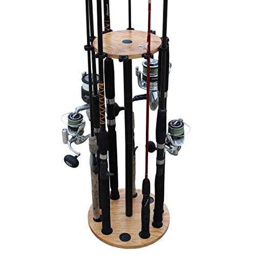 (Rush Creek Creations 10 Round Fishing Rod/Pole Storage Floor Rack - Convenient Easy Assembly (American Cherry))