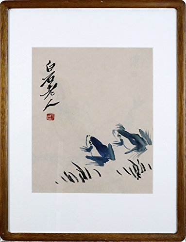 IglooArts- Giclee Print of Contemporary Asian Paintings - Frogs - Qi Baishi - Price Cut by 30% for Holidays - Framed and Ready to Hang - 19