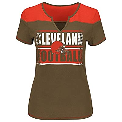 Cleveland Browns Ladies Majestic Football Miracle Notch Neck T Shirt