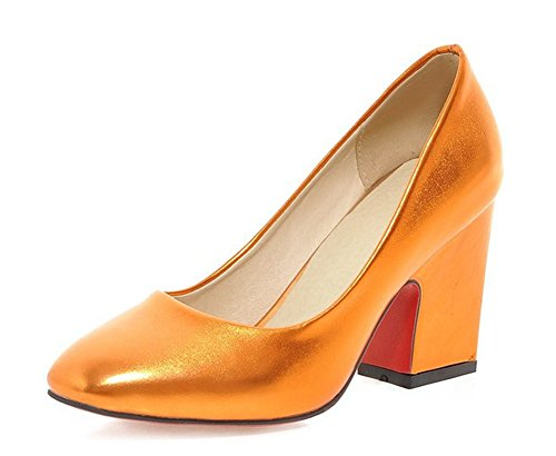 Aisun Damen Klassisch Metallic-Lack Kunstleder Low Top Blockabsatz Pumps Für Arbeit Orange