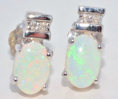 6x4mm Genuine Opal & Diamond Oval Stud Earrings .925 Sterling Silver Rhodium (Genuine Oval Opal Pendant)