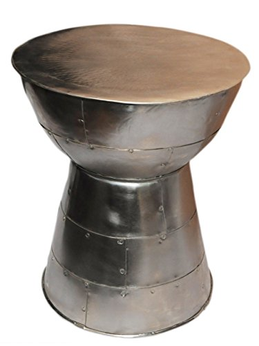 Silvered Metal Accent Table Cairo with Mushroom top. Bands of Metal Welded Together in Unique Fashion. Coated Finish… - Round Silvered Accent Table Mushroom-shaped Top Silvered Metal Construction with Coated Finish - living-room-furniture, living-room, end-tables - 41tnD0g0aBL -