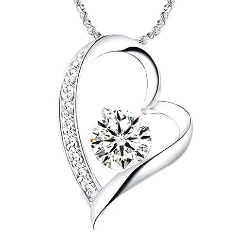 Felix 14K White Gold Overlay I Love You Heart Pendant Necklace for Mom, Wife, Girlfriend, Daughter ()