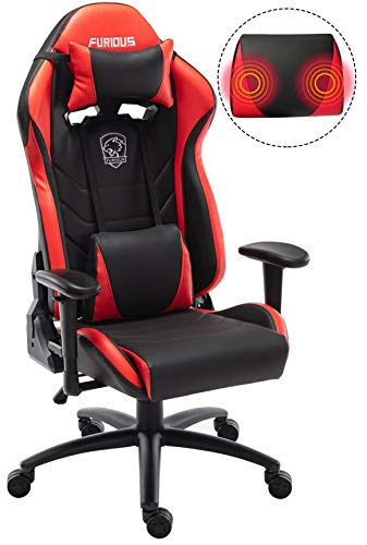 Gaming Chair Racing Style Swivel Computer Gamer Chair with Fully Foam, Esports Video Game Chair, PU Leather Executive Office Chair with Lift Headrest and Lumbar Support Red