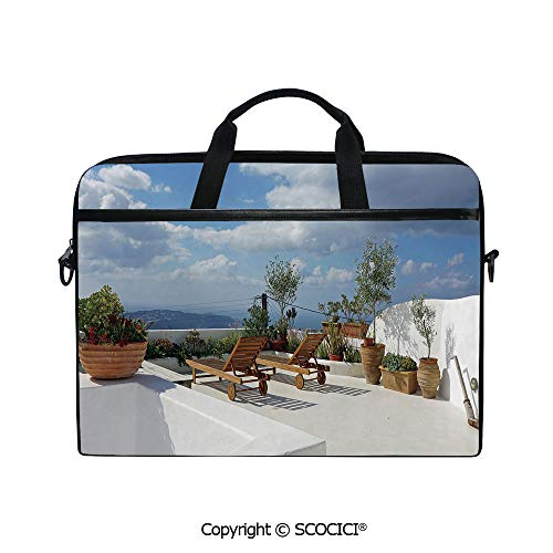 Printed Laptop Bags Notebook Bag Covers Cases Autumn Greek Island Santorini Touristic Popular Place Trees Image with Adjustable Strip and Zipper - Custom Cover Card Places Spinner