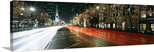 Canvas On Demand Premium Thick-Wrap Canvas Wall Art Print entitled Blurred Motion Of Cars Along Michigan Avenue Illuminated With Christmas Lights, Chicago, Illinois - Shopping Chicago Avenue Michigan