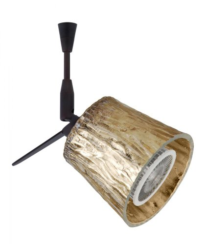 Besa Lighting SP-5145GF-LED6-BR 1X6W LED MR16 Nico 3 Spotlight with Stone Gold Foil Glass, Bronze Finish