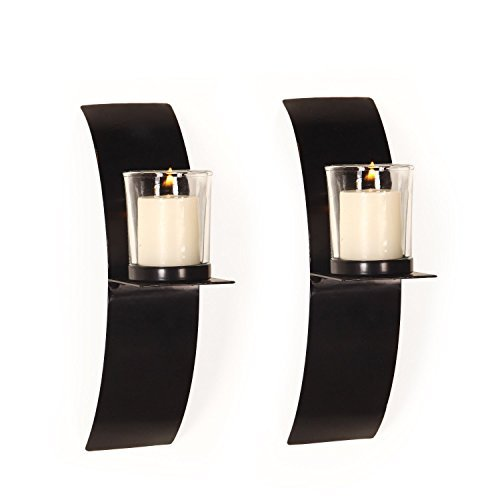Vertical Wall Hanging Accents Candle Holder Sconce (Set of 2) (SD014) ()