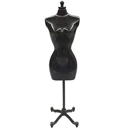 ACHICOO 30cm Mini Mannequin Dress Clothes Gown Model Stand for Doll Display Holder Black Single(no Outer Packaging)